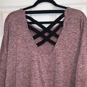 Heather Pink Tunic Top With Strap Back